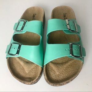 Turquoise Buckle Sandals / Slides